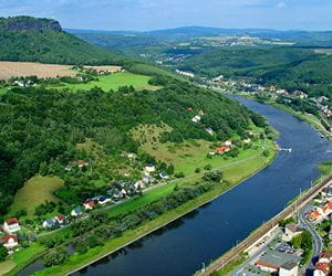 View from above over the river Elbe