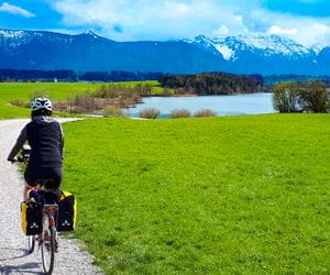 Biker on the cycle path to the lake Staffelsee