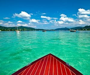 Boat in the clear Lake Wörthersee