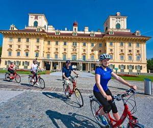 Cyclists in front of castle Esterhazy