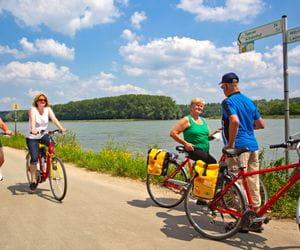 Eurobike cyclists on the rhine cycle path