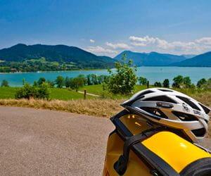 Helmet in front of Lake Tegernsee