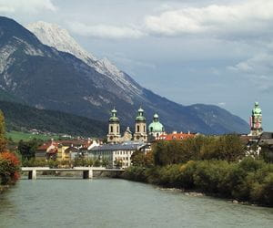 Overlooking Innsbruck an river Inn
