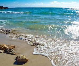 Crystal clear sea at the natural beach Ses Covetes