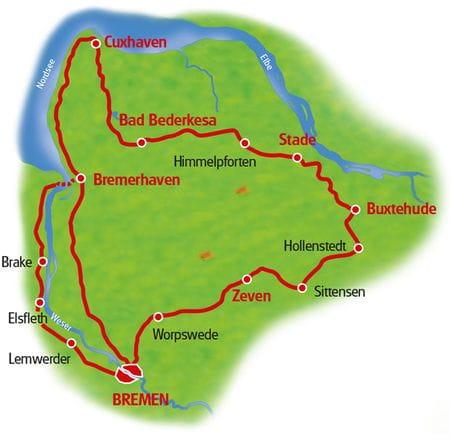 Karte Hanse Rundtour