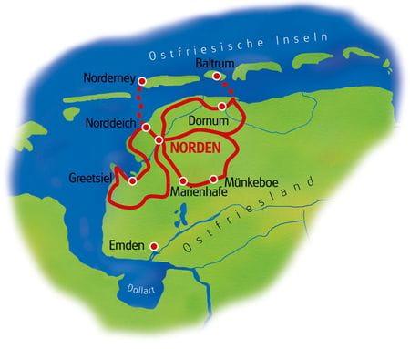Map Eastern Friesland - based in one hotel