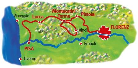 Karte Pisa - Florenz