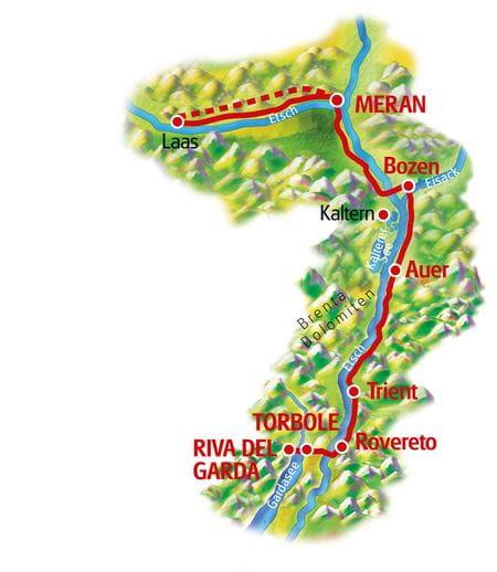 Südtirol für Familien - Meran - Gardasee, Karte