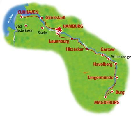 Karte Magdeburg - Hamburg - Cuxhaven