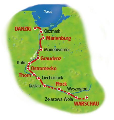 Radtour Warschau - Danzig - Karte