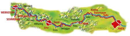 Karte Donau-Radweg Schärding - Wien