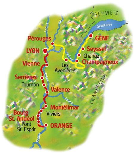 Karte Rhone-Radweg Genf - Lyon - Orange