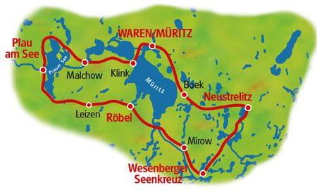 Radreise Mecklenburger Seenplatte - Karte