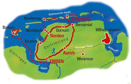 Map Eastern Friesland Island Hopping
