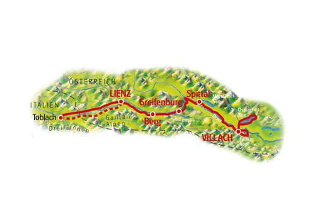 Drau Cycle Path for Family, Lienz - Villach, Map