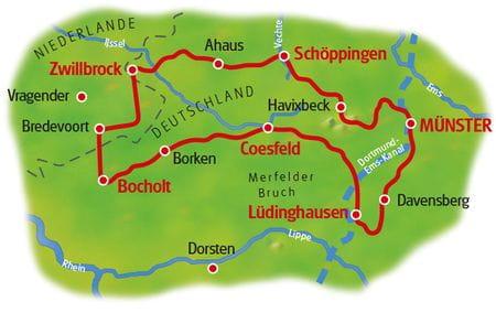 Radreise Münsterland - Karte