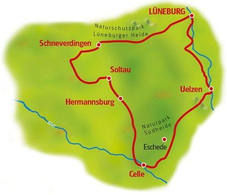 Map Lüneburg Heath Loop Tour