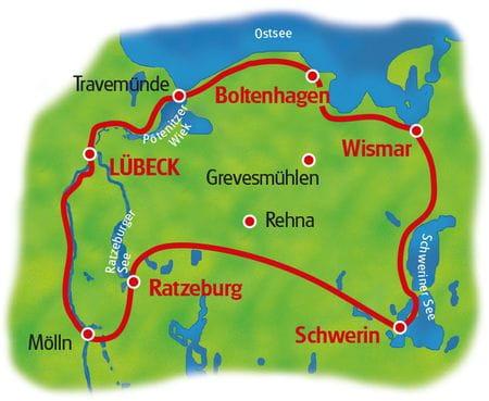 Karte Ostsee, Hansestädte und Alte Salzstraße