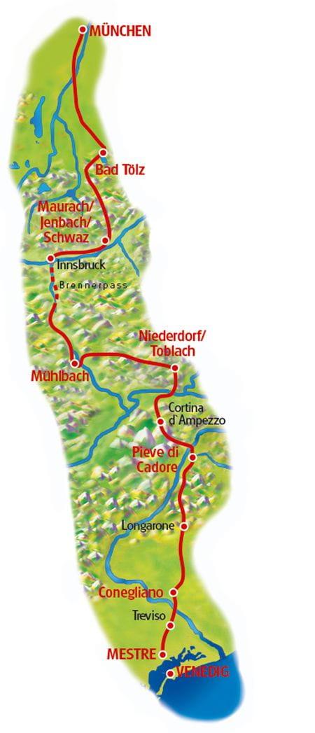 München - Venedig - Karte