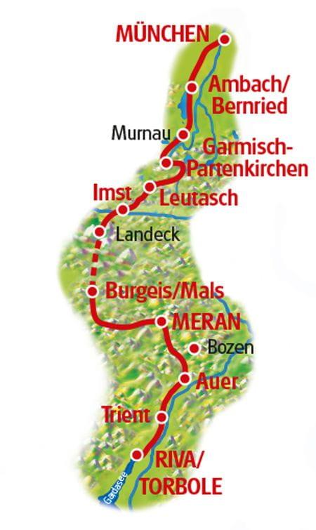 Radtour München - Meran - Gardasee - Karte