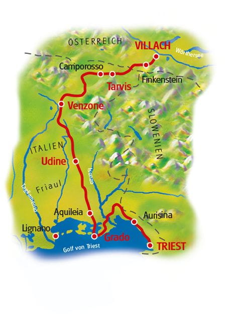 Map Villach - Triest