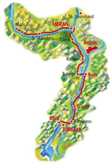 Karte Meran - Gardasee