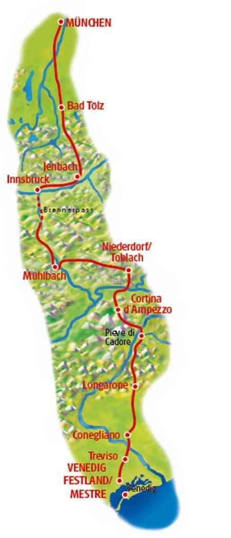 Radtour München-Venedig Karte
