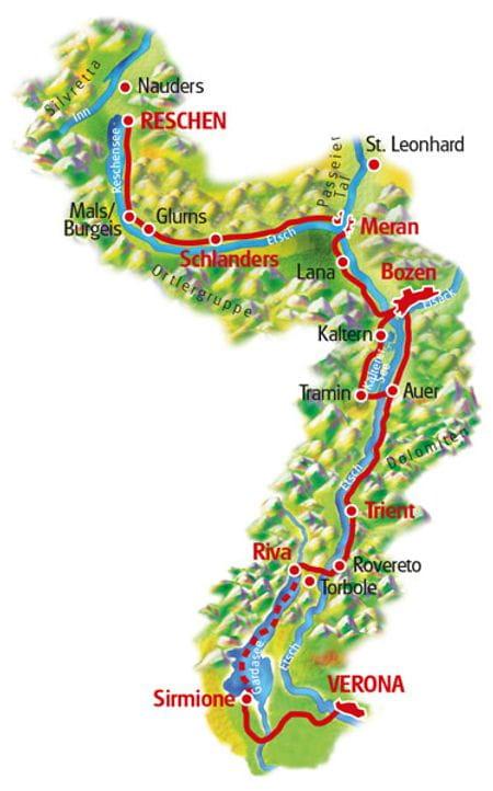 Map Lake Reschen - Verona