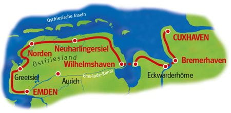 Karte Nordseeküstenradweg Emden-Cuxhaven