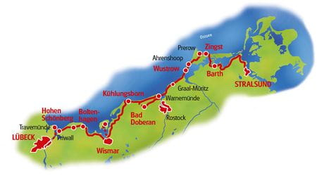 Map Baltic sea cycle path, Lubeck - Stralsund