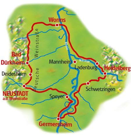 Karte Speyer - Heidelberg - Worms