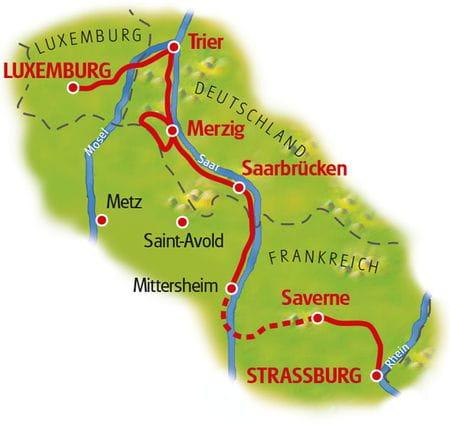 Karte Straßburg - Luxemburg