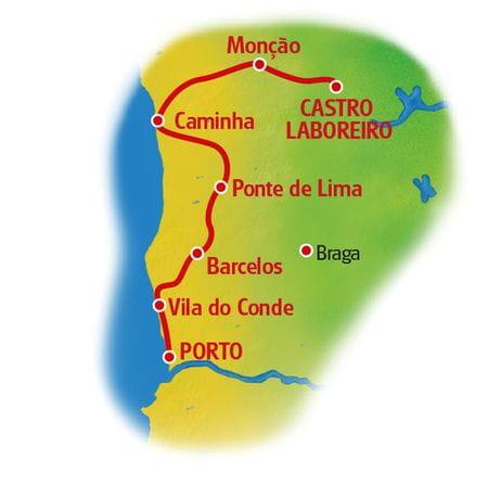 Karte Minho - Porto