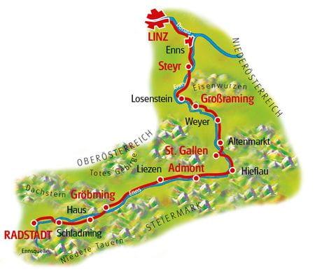 Enns-Radweg - Karte