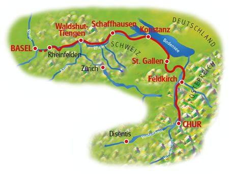 Karte Rhein-Radweg Chur - Basel