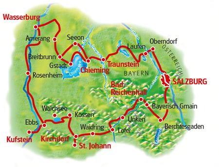 Karte Mozart-Radweg
