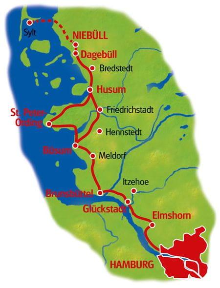 Karte Nordseeküsten-Radweg