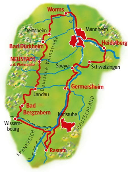 Map Neckar, Rhine & Vines