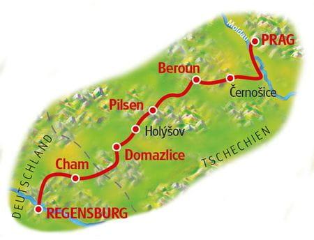 Karte Regensburg - Prag