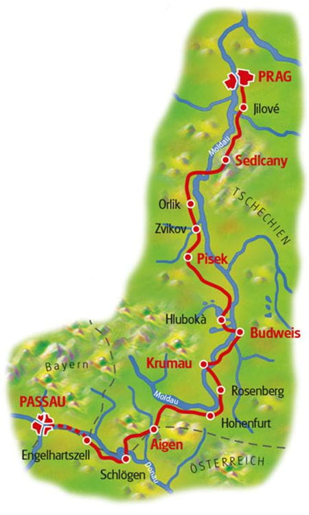 Karte Prag - Passau