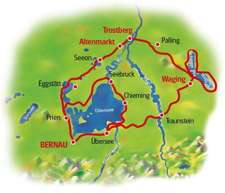 Map Lake Chiemsee & Lake Waginger See