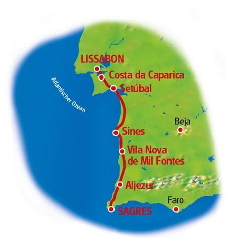 Radtour Lissabon - Sagres - Karte