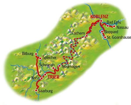 Karte Fünf Flüsse Sternfahrt