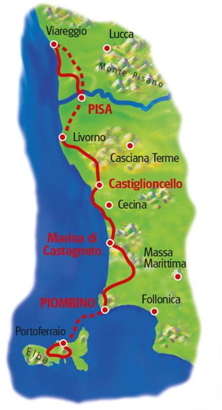Karte Toskanische Küste