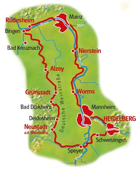 Karte Drei Kaiserdome am Rhein