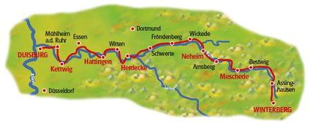 Ruhrtal-Radweg - Karte