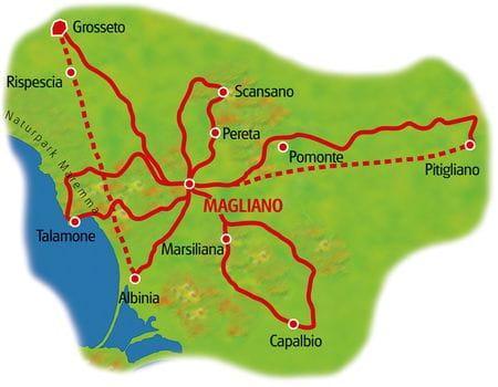 Karte Maremma Sternfahrt
