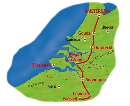 Karte Amsterdam - Brüssel