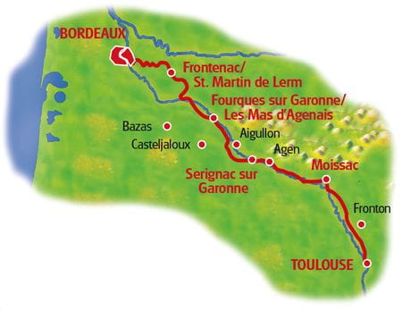Map Bordeaux - Toulouse