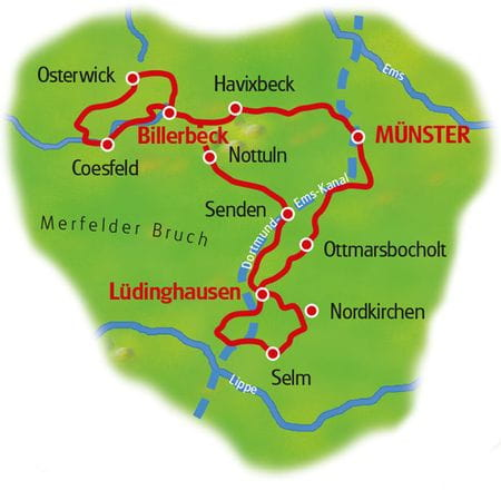 Map Munsterland Castles